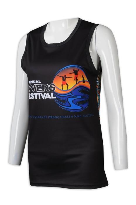 VT235 來樣訂製女裝熱昇華背心T恤 訂製印花背心T恤 背心T恤制服店  黑色 澳洲 JATU