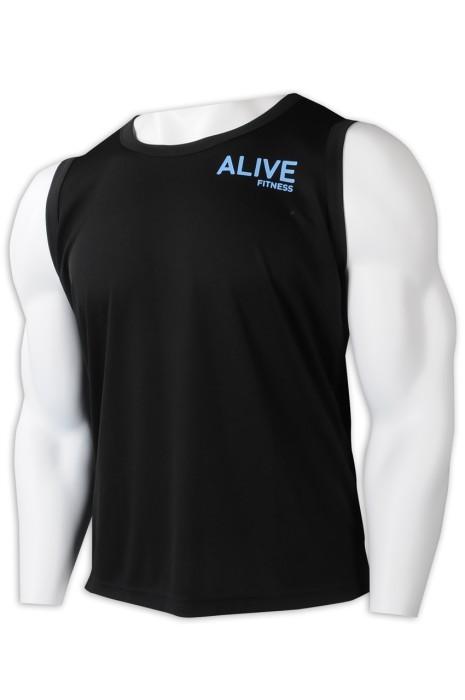 VT236 訂製健身中心男裝背心T恤 設計印花LOGO 背心T恤 背心T恤製衣廠 黑色