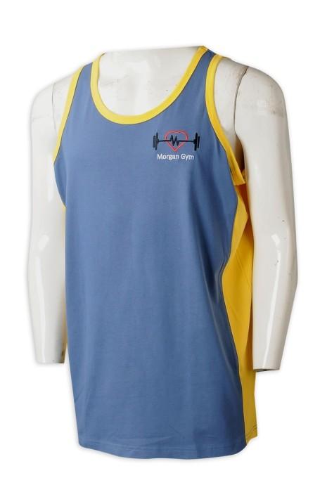 VT239 個人設計男裝背心T恤 製造健身撞色繡花背心T恤 背心T恤製衣廠