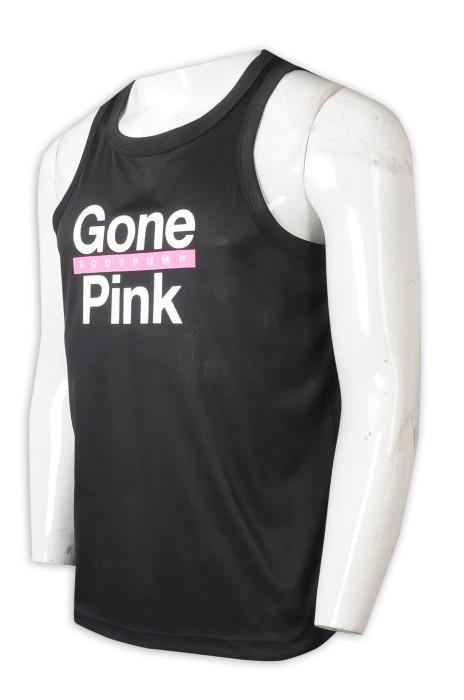 VT240  設計男裝背心T恤   製造槓鈴操 健身撞色印花背心T恤 背心T恤製衣廠   黑色