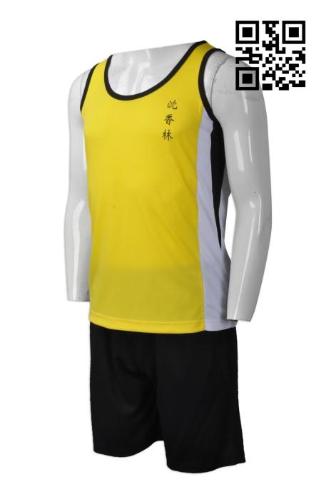 WTV141  訂購背心運動套裝  設計透氣運動套裝  佛教沈香林紀念中學 跑步背心套裝 網上下單運動套裝  運動套裝專門店