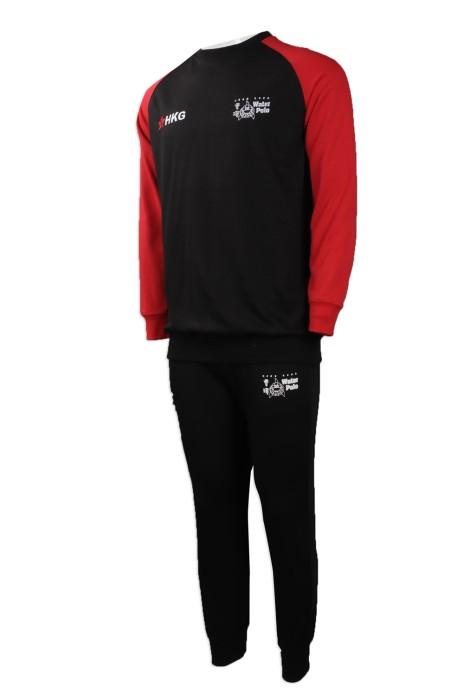 WTV150 網上下單秋冬款運動套裝 製作男裝運動套裝 水球 熱身隊衫 香港 設計運動套裝製衣廠      黑色衣服撞色紅色黑色褲子
