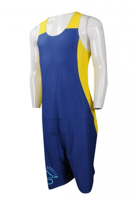 WTV153 團體訂做運動套裝款式 網上下單運動套裝一件頭男泳衣 連身 舉重 吊帶 運動背心連體衫 摔角 設計運動套裝專營店   彩藍色 撞色黃色