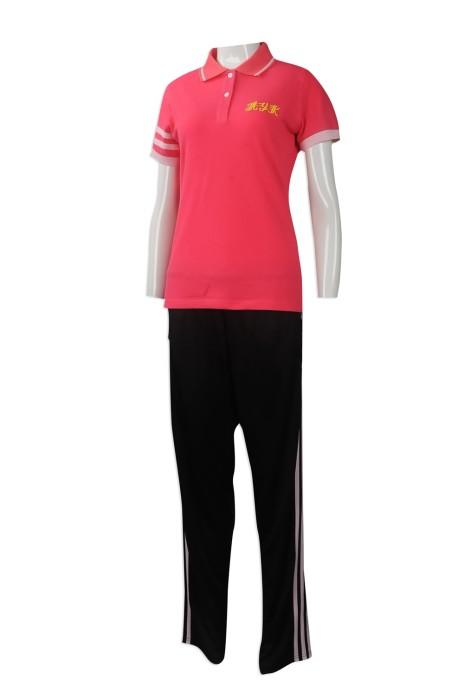 WTV154 大量訂做運動套裝 網上下單運動套裝款式 設計運動套裝供應商    桃紅色衣服  黑色褲子