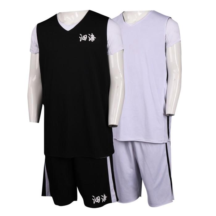 WTV157 設計兩面穿運動套裝  籃球服 打波衫 雙面運動服 100%滌 運動套裝製衣廠     白色   黑色