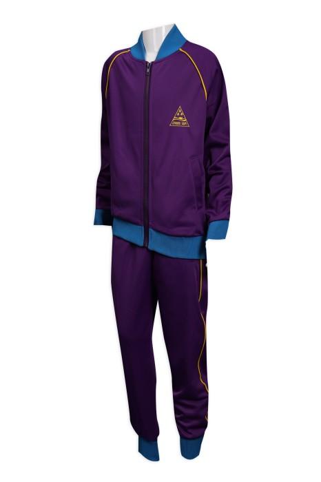 WTV164 訂做冬季運動套裝 金光絨 運動服 100%滌 澳門松森 運動套裝製衣廠    紫色