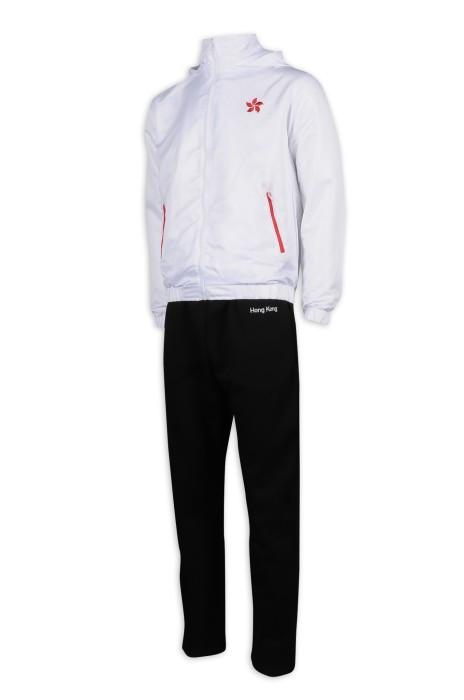WTV165 設計冬季運動套裝 連帽 香港 運動套裝製造商     白色衣服   黑色褲子