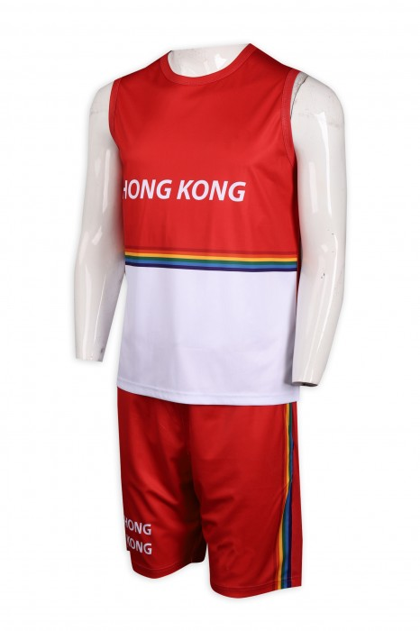 WTV163 訂製背心款 運動套裝 香港 代表運動衫 選手衫 運動套裝生產商     紅色白色衣服  紅色褲子