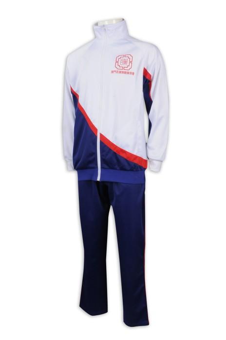 WTV168 設計冬季運動套裝 金光絨 運動服 澳門百辦商會 運動套裝製造商    白色衣服寶藍色褲子