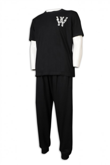 WTV167 訂購短袖T恤運動套裝 製造束腳運動套裝 橡筋褲頭 運動套裝hk中心    黑色