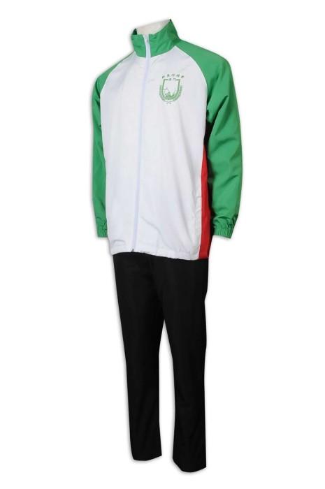 WTV170 訂造運動套裝 撞色 高領 澳門 鮮魚行總會 運動套裝生產商    白色  撞色綠色