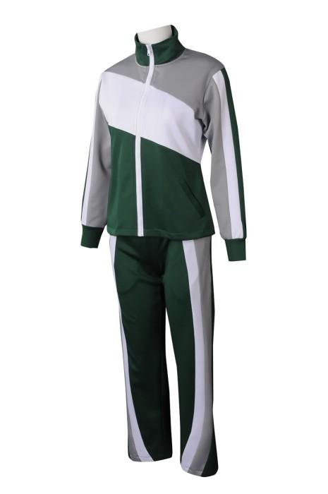 WTV174 製造女裝撞色運動套裝 設計抽繩褲腰運動套裝 運動套裝專營 100%滌