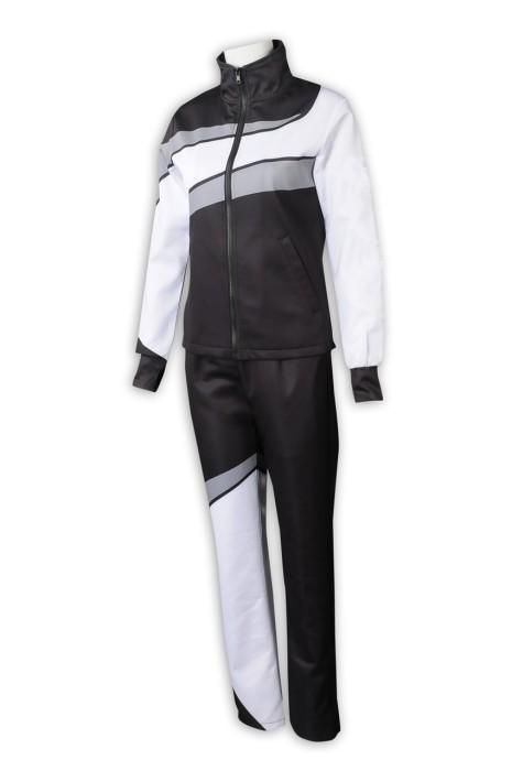 WTV175 網上訂購女裝運動套裝 設計黑白撞色運動套裝 運動套裝工廠 100%滌