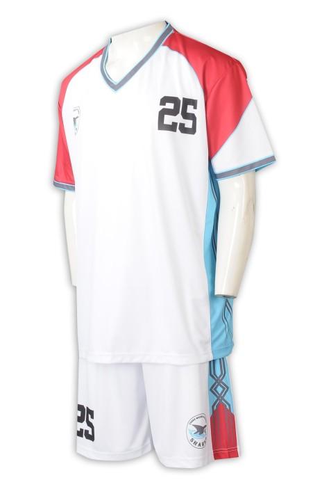 WTV178   來樣訂製籃球運動套裝 網上下單拼色款運動套裝 印花logo 白色+紅色  V領