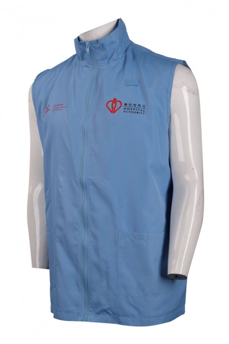 V178 訂製藍色企領背心外套 醫院 醫護義工背心外套供應商