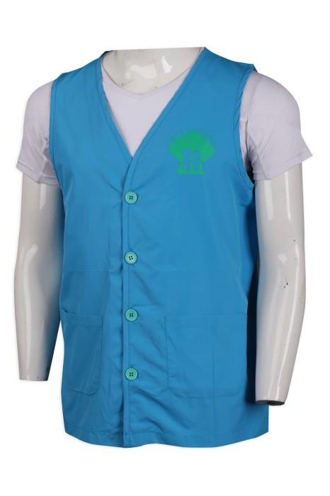 V185 訂購扣鈕工作背心外套  澳門 智耆之友協進會 300T消光防絨布 背心外套製衣廠