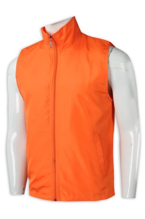 V201 設計男裝心外套  訂做淨色背心T恤  隱形拉鍊  橙色