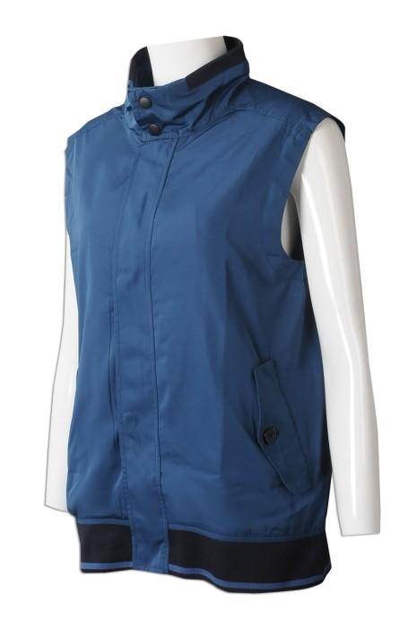 V206 製造女裝背心外套 個人設計深藍印花鈕扣袋口背心外套 啪鈕 領位設計 背心外套供應商 HK 物業管理