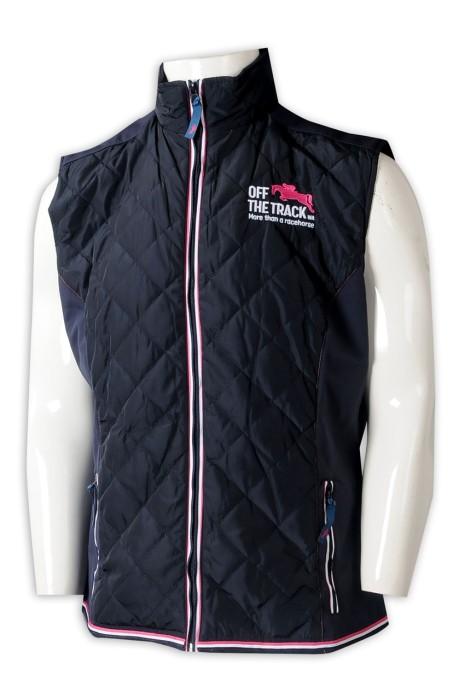 V207 訂製男裝背心外套 設計夾棉繡花拉鏈背心外套 背心外套供應商 澳洲 拉鍊繩 複合布