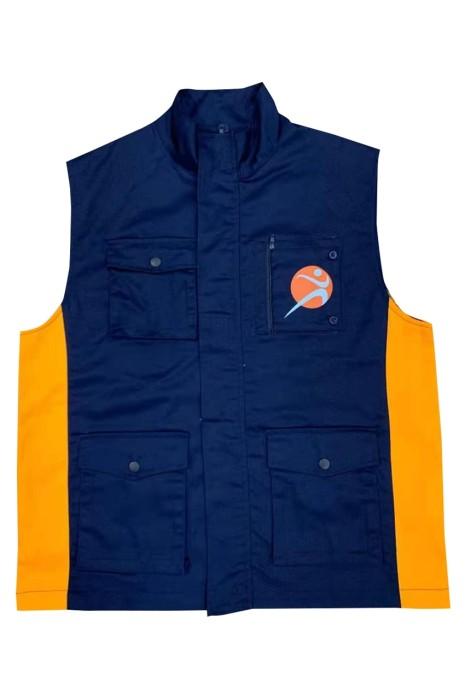 V208 訂製立領背心外套  設計多功能袋口拼接色背心外套  伸縮 活動 logo 袋口 名牌 隱藏  背心外套供應商