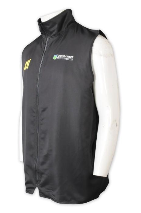 V209   訂製純色立領背心外套    設計印花logo    學院背心外套   活動   背心外套供應商    100%滌