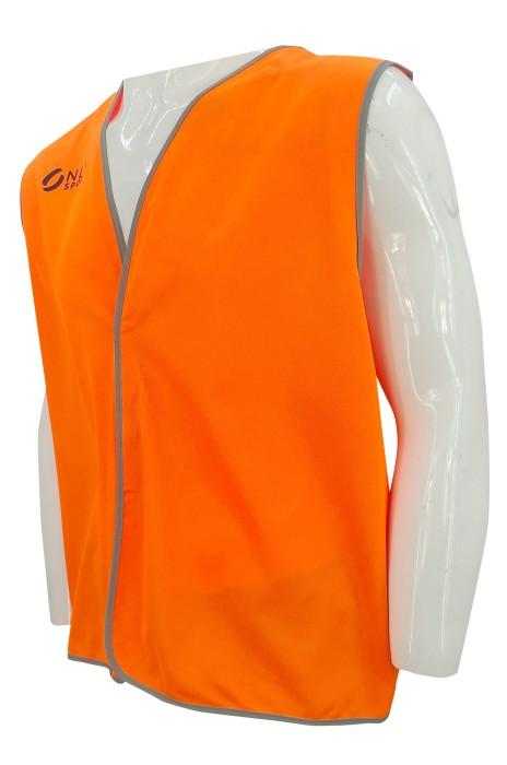 V210  訂做橙色背心外套    設計印花logo     魔術貼    背心外套供應商   製作背心工廠