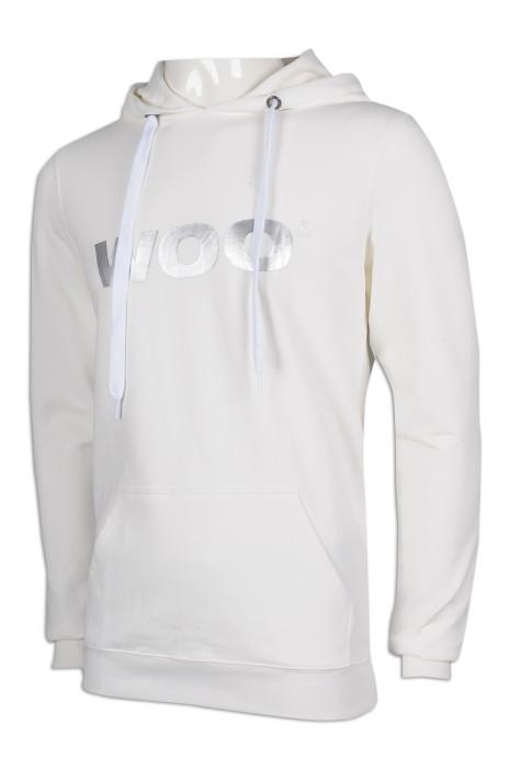 Z438 製作男裝白色連帽衛衣 修身 衛衣專門店
