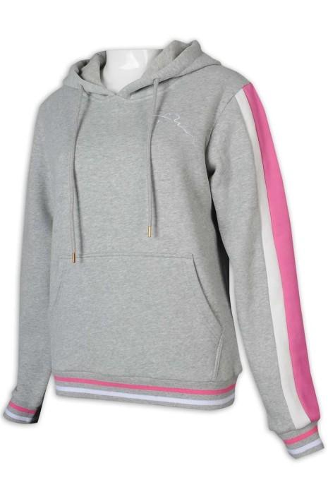 Z480 網上下單衛衣 女裝拼色衛衣 拼色袖口 拼色衫邊 毛繩 帶帽 衛衣生產商