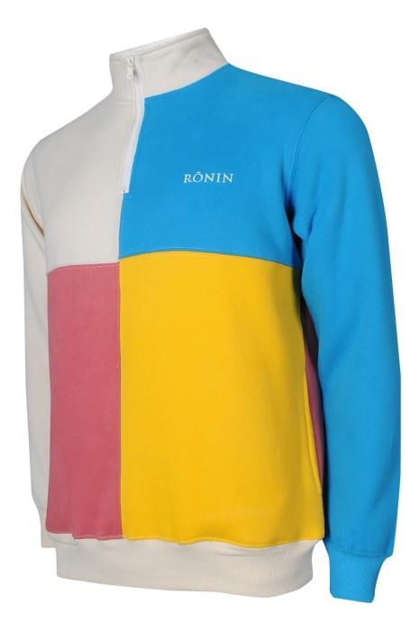 Z488 訂做衛衣 男裝 長袖 高領 4色 拼色 拉鏈 側袋 衛衣生產商
