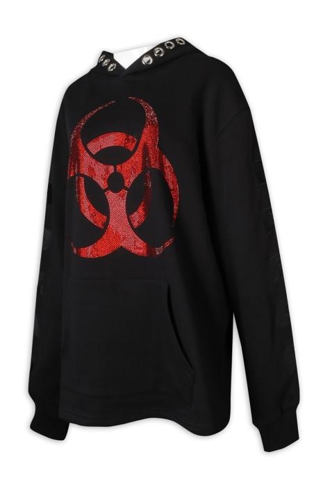 Z490 來辦訂做衛衣 65%棉 35%滌 黑色 帶帽 Logo 印花 插袋 衛衣專門店