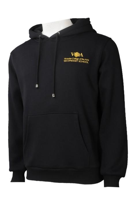 Z498  制訂黑色繡花logo  訂做淨色衛衣   連帽衛衣    衛衣供應商  美國 PVBS  班褸   黑色