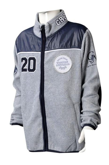 Z510 大量訂製灰色衛衣外套  訂製拉鏈繡花衛衣外套 衛衣外套製衣廠  100%滌 高企領 中童 外套