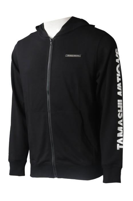 Z511  製造男裝黑色長袖外套衛衣  自訂連帽印花衛衣外套 衛衣外套專門店 燙銀 袖口 大LOGO 設計