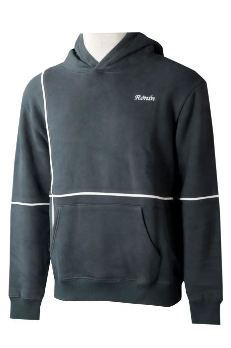 Z513 專業訂製男裝長袖衛衣  訂購連帽白邊條衛衣 衛衣專門店  瑞士 男時裝