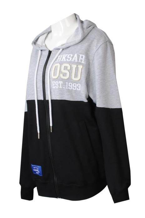 Z521  來樣訂製撞色女裝衛衣   設計拉鏈連帽衛衣    印花logo 繡花logo  學生     學生聯會 機構 聯校