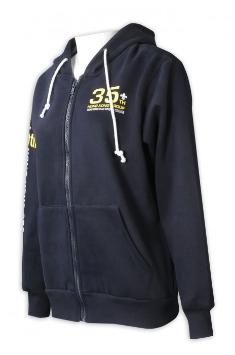 Z524  訂購拉鏈連帽衛衣   設計印花logo   黑色女裝衛衣    校內童軍 班褸 制服團體 衫底側 自訂織嘜設計