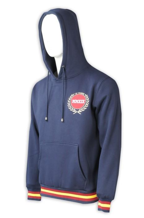 Z525  訂做寶藍色衛衣  訂製繡花logo  衫底  袖口3色撞色 班褸  男裝連帽衛衣   衛衣供應商   抓毛衛衣