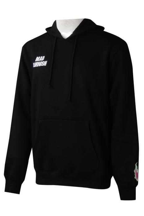Z527  團體訂做黑色衛衣  設計男裝連帽抽繩繡花 印花LOGO衛衣  衛衣中心    美國 零售