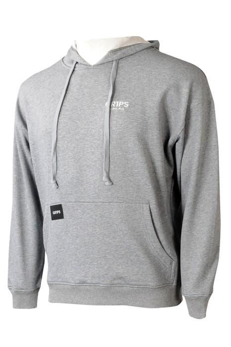 Z532  製造灰色男裝連帽衛衣  設計抽繩 印花LOGO 比賽衛衣 衛衣供應商  香港  摔角  自由搏擊