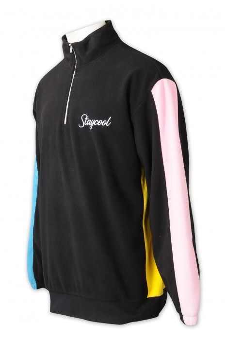 Z539   訂做半胸拉鏈衛衣    設計兩邊袖撞色    絲印logo   零售行業   搖粒絨   企領    銀色拉鍊
