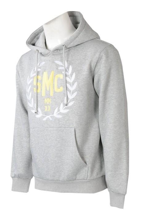 Z541  設計後幅大logo衛衣    訂做男裝衛衣    絲印金色白色logo     灰色衛衣供應商    衛衣設計中心
