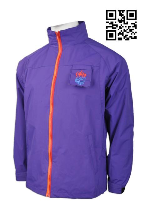 J664  製造紫色風褸外套 度身訂造風褸外套  330D 防水透氣布 青少年活動團體 撞色拉鍊 名牌扣 大量訂造風褸 風褸hk中心
