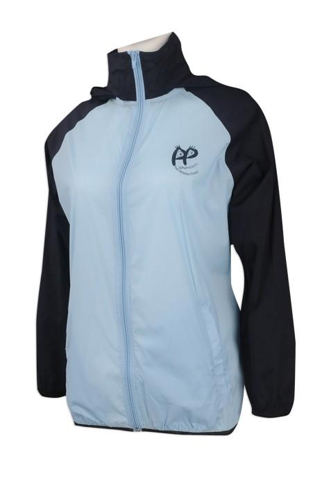 J774 網上訂購撞色風褸外套 印製牛角袖風褸外套 製作帶帽風褸外套批發商