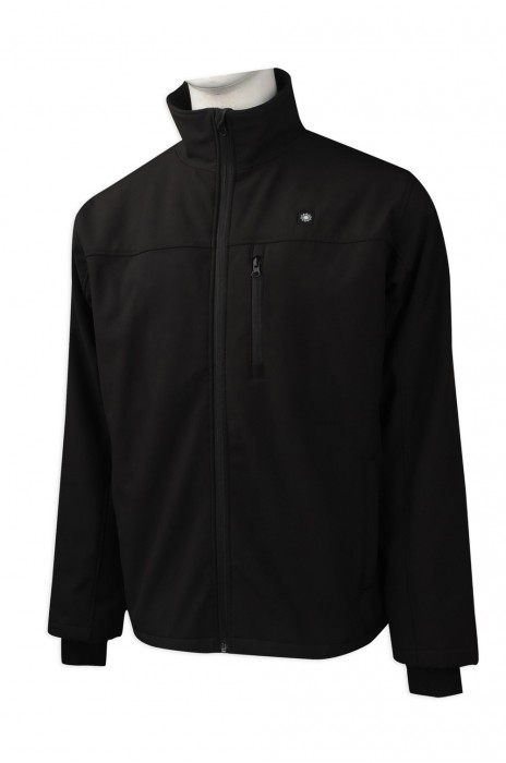 J785 訂做黑色立領拉鏈外套 外套香港公司 銀包袋 複合外套