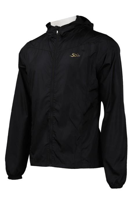 J791 訂製繡花logo風褸外套 修腰 索繩風褸外套  風褸外套生產商