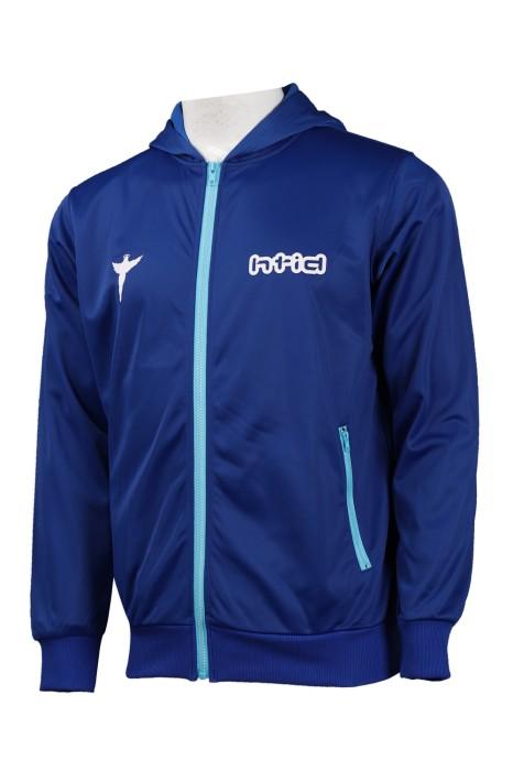 J795 訂購藍色拉鏈開胸金光絨外套 撞色袋拉鍊  外套製造商