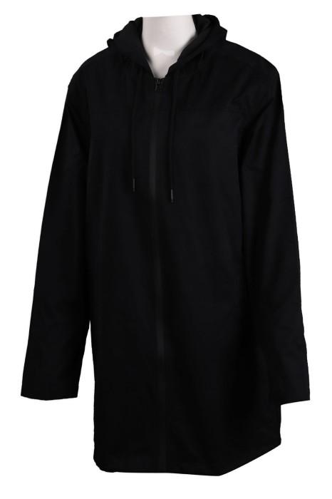 J820 訂製淨色連帽風褸外套 中長款 風褸外套生產商