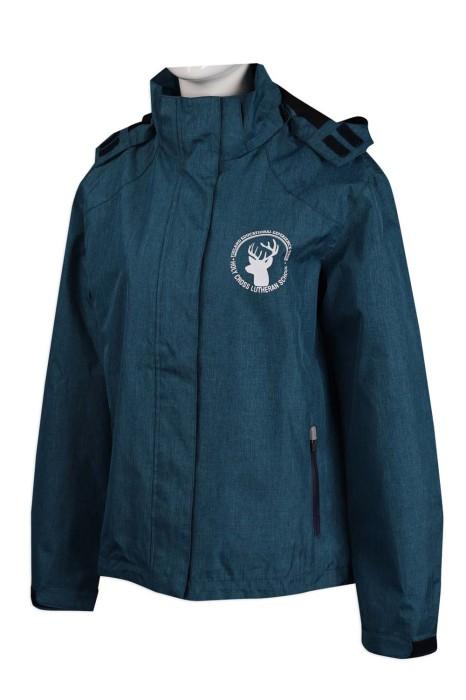 J830 訂做淨色風褸外套 魔術貼拉鏈蓋 防水 複合料 100%滌 風褸外套製造商