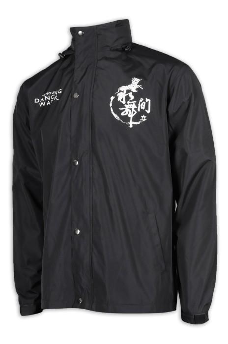 J839 設計黑色風褸外套 魔術貼袖口 100%滌 澳門 風褸外套製造商