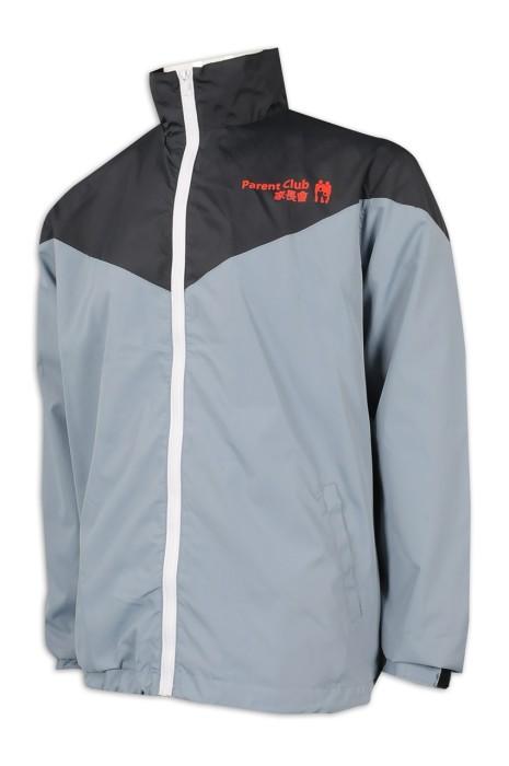 J843 訂購拉鏈立領風褸外套 設計拼色直袖風褸 100%滌 300T消光防絨 風褸hk中心